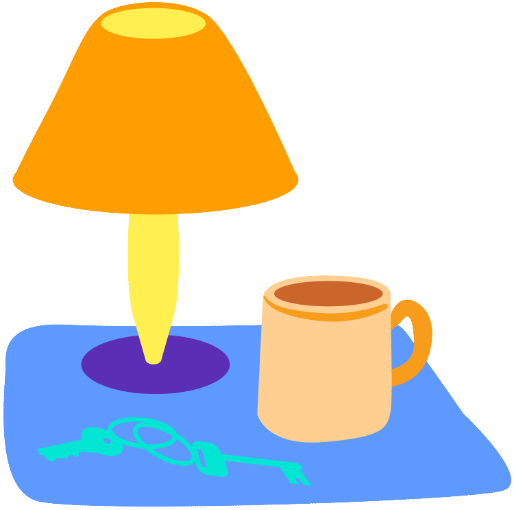Tea with lamp illustration